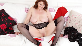 Buxom gilf Lady Ava shows you her big boobs and fine fanny