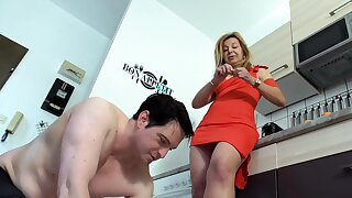 milf mistress humiliate slave bobby be fitting of kitchen cleaning